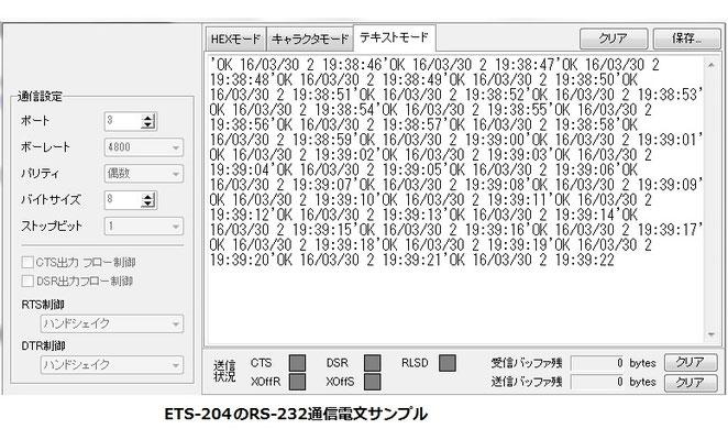 ETS-204(G3)RS-232通信電文サンプル画像
