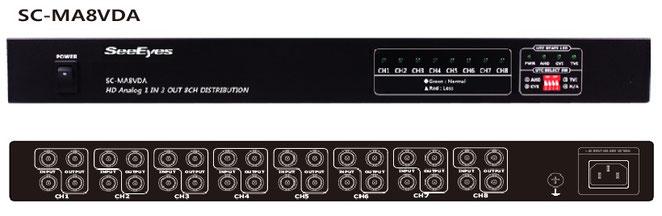 AHD/TVI/CVI/CVBS 1入力3出力x8局用分配器 - 製品写真