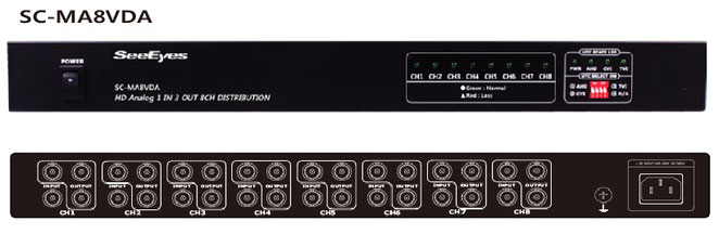 AHD/TVI/CVI/CVBS 1入力3出力x8チャンネル分配器 - 製品写真