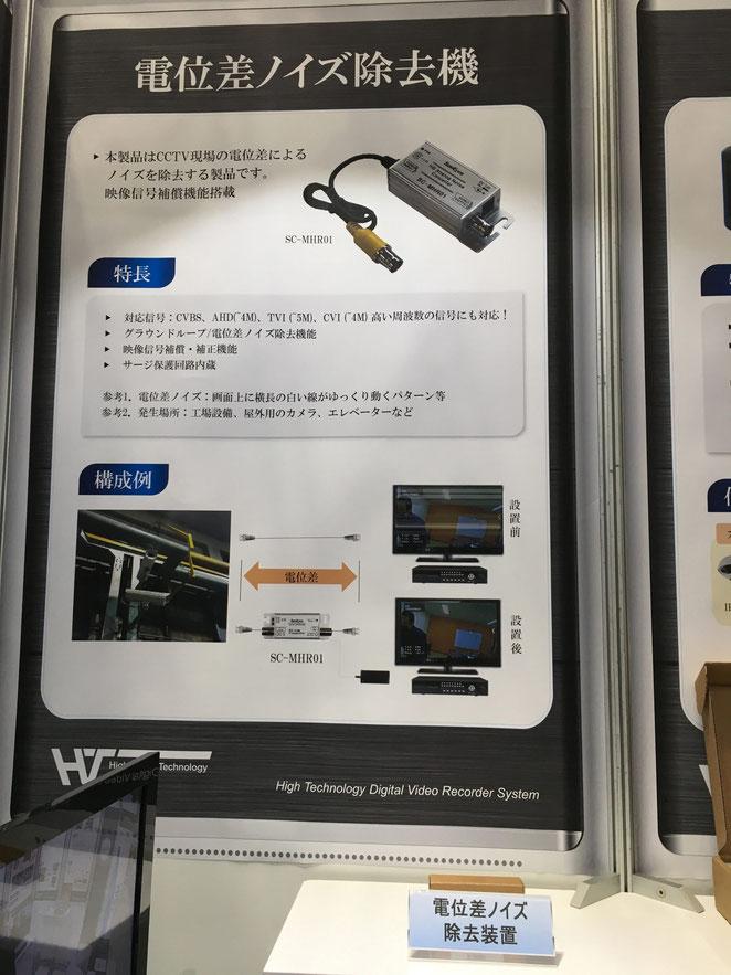 アナログHD(AHD/TVI/CVBS)電位差ノイズ除去装置_展示会パネル写真
