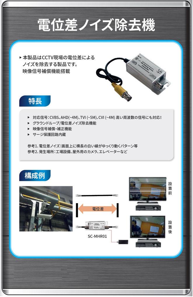 アナログ/AHD/TVI/CVI 防犯カメラ 電位差 横線 ノイズ 除去機 製品ポスター01