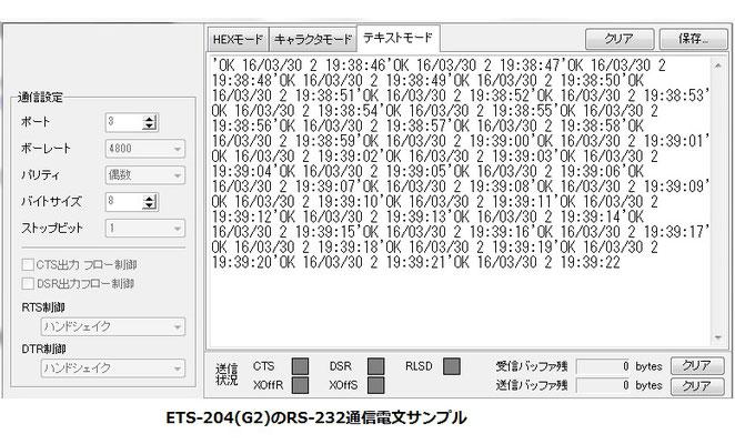 ETS-204(G2)RS-232通信電文サンプル画像