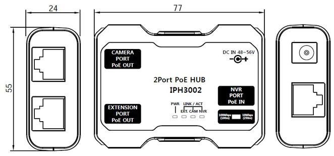 PoE+ 2ポート 小型 延長器 IPH3002 寸法図