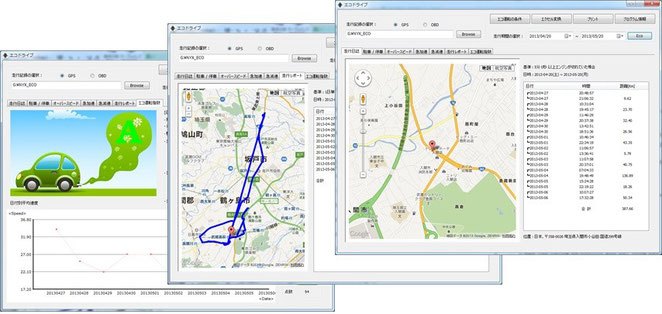 ドライブレコーダー Dual-HD3300 運行管理ソフトウェア画面