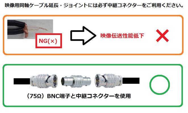 BNC延長・ジョイント・連結の際の注意事項_写真