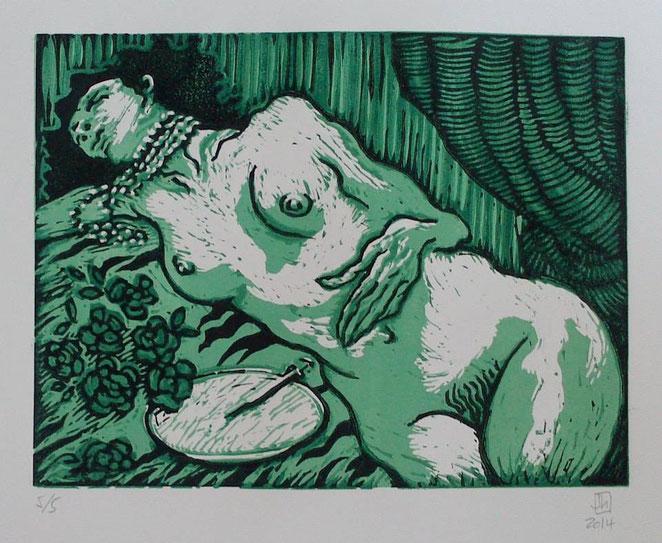 """""""La Belle Dame sans Merci"""", 2014. Linograbado. Dos matrices, cuatro tintas. Edición de cinco ejemplares. Imagen: 25x33 cm."""