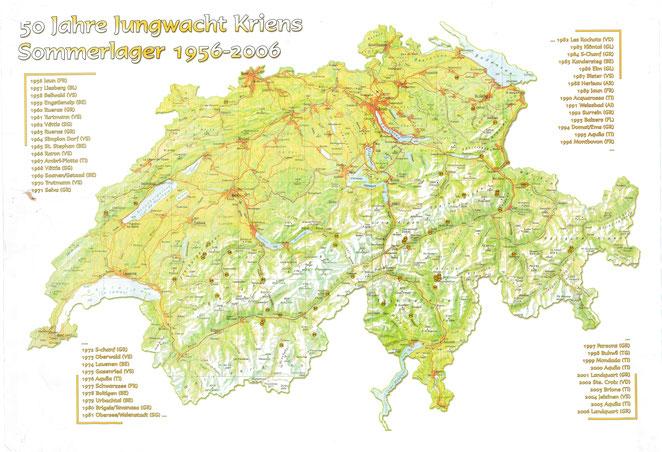 Lagerplatz, Sommerlager 1956 - 2006, Jungwacht Kriens, Tapfer und Treu