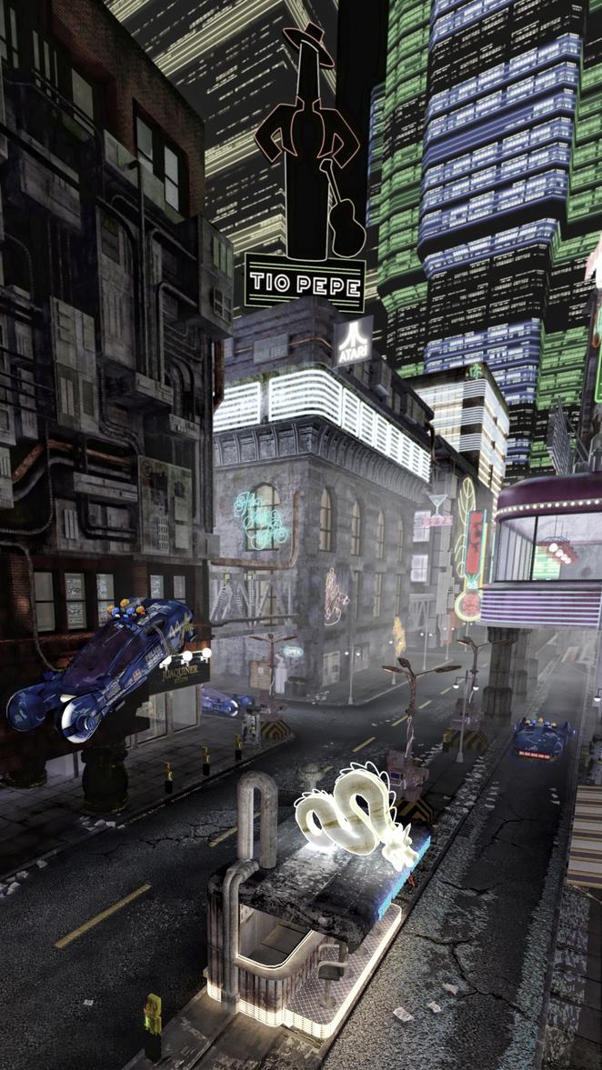 Visualizacion 3d de la pelicuala Blade Runner, render 3d max, vray