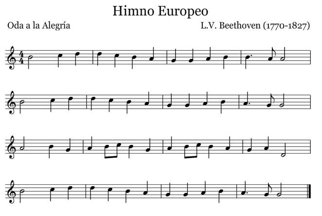Himno Europeo. Versión en Sol