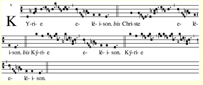 Encuentra la obra en Internet, youtube y sigue la partitura. Kyrie (Misa de Angelis VIII)