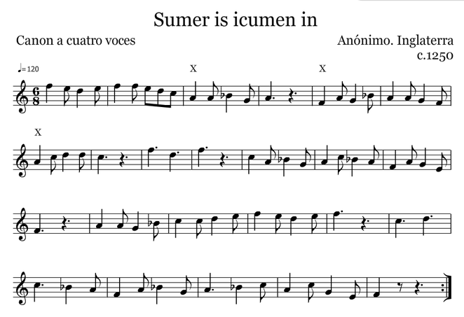 Sumer is icumen in. En Fa, para poder tocar los graves.