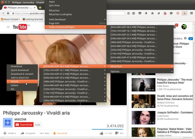 Foto 1: Pinchando en Herramientas de Firefox y en Download Helper tenemos info sobre el vídeo: tamaño, cuadros por segundo etc.