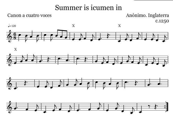 Sumer is icumen in (En Do). Cuando una voz llega a la cruz, entra la otra voz al principio del canon.