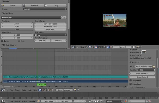 Foto 1: vemos las líneas verticales de frame inicial y final. Lo que está dentro será el fragmento a renderizar.