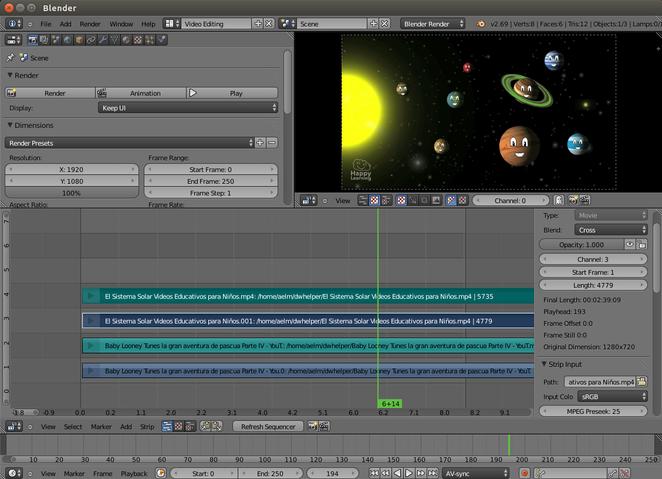 Foto 2: El Panel de Visualización muestra la pista 3, es decir, el vídeo de los planetas, no de los Baby Looney tunes (pista 1), ni la pista 4, que es de audio.