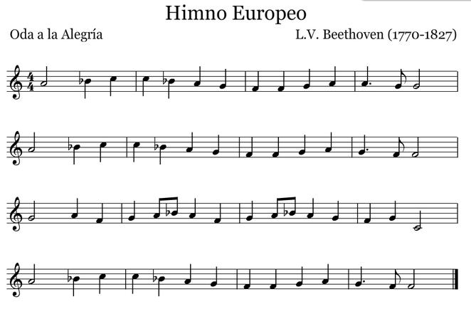 Himno Europeo. Versión en Fa