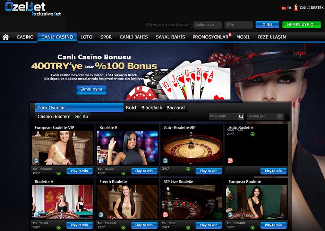 Özelbet Canlı Casino Ekran Görüntüsü