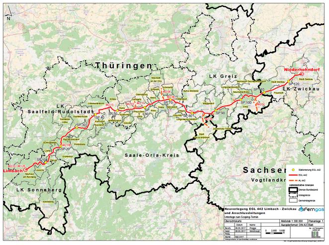 Übersichtskarte zum Trassenverlauf der Erdgasleitung 442