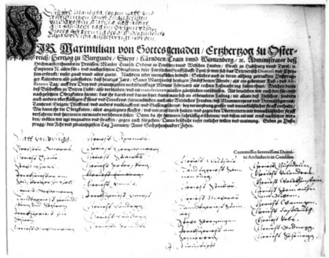 Dokument aus dem Jahr 1610, in dem die Mullerei in Thaur verboten wird