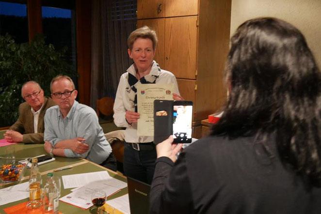 Ehrung von Monika Franck zur Ehrenvorsitzenden als Livestream.
