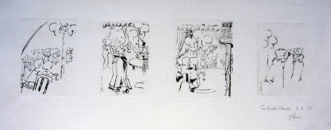 * 887- Quatre gravures groupées sur une feuille unique,85 x 30