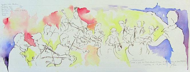 961- Gravure aquarellée de  L'orchestre à cordes de Marie Triplet, Ecole Nationale de Musique d'Epinal  85 x 33