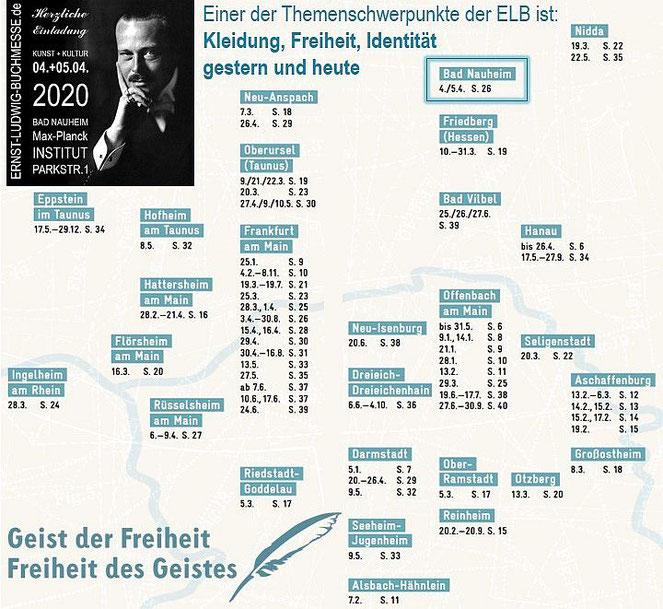 Kleidung, Freiheit, Identität - gestern und heute - Standorte-Übersicht von: KulturRegion FrankfurtRheinMain und Ernst-Ludwig-Buchmesse Bad Nauheim