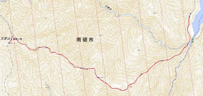 コース概要  往復12.9K 行動時間 9時間8分 累積標高差 約1,550m