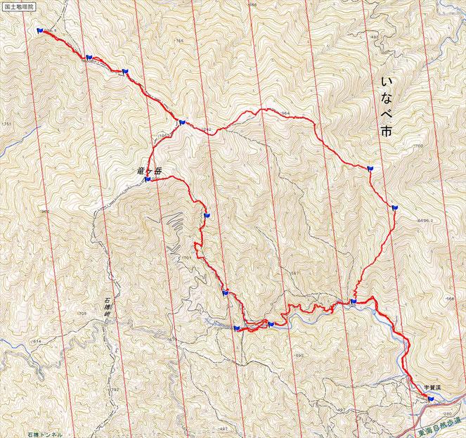 コース概要  距離 15.4km  累積標高差 約1,200m   行動時間 約9時間