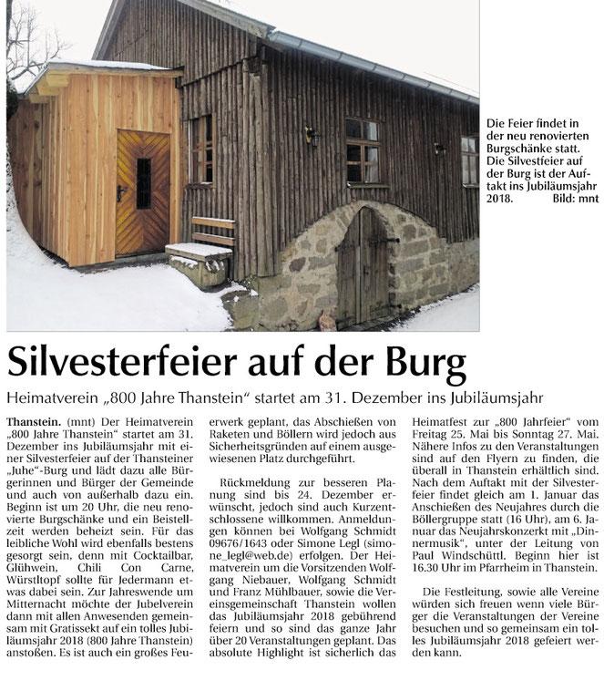 Der Auftakt ins Jubiläumsjahr 2018 findet Silvester auf der Burg statt