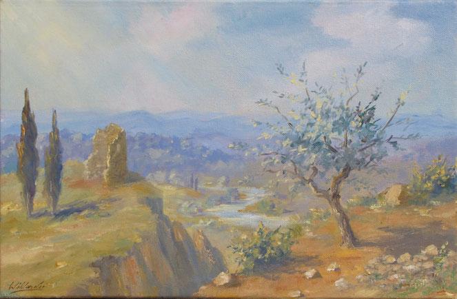 Tony Wahlander (Wåhlander) esquisse d'un olivier, une ruine de château et la rivière