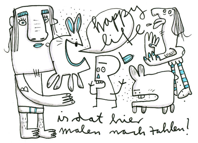 Illustration Happy Life, Zeichnung mit Tusche von Frank Schulz Art, zeigt fröhliche Kreaturen im Gewimmel