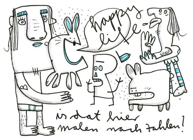 Illustration Happy Life zeigt fröhliche Kreaturen im Gewimmel