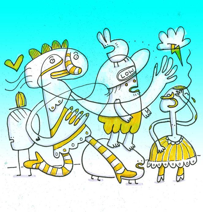 Illustration in Anlehnung an Las Meninas von Velazquez, Zeichnung mit Tusche von Frank Schulz Art, zeigt Fantasie Figuren im Gespräch