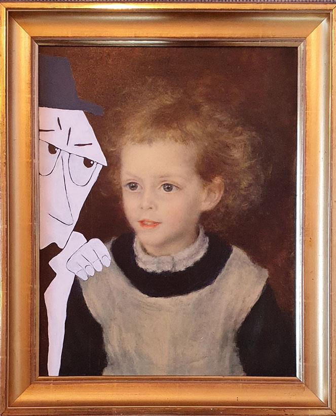 gemaltes Bild von einem weissen Mann der ein (gedrucktes) Mädchen berührt
