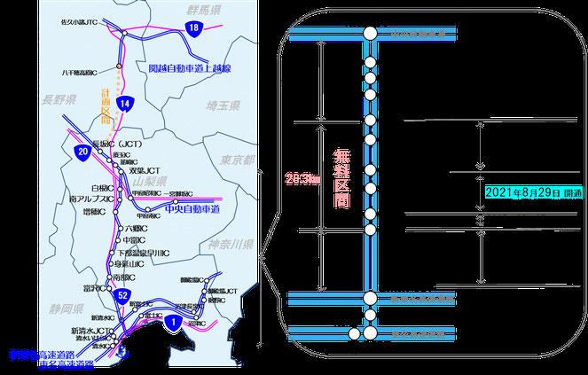 中部横断自動車道の整備概要