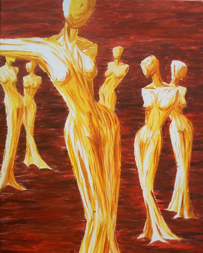 feurig, glühende Frauengestalten, in fließender Lavaflut, unbeirrt, verwurzelt, wie Bäume im Wald