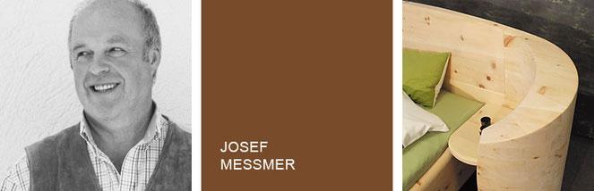 Portrait von Schreiner Josef Meßmer sowie ein Zirbenholzbett mit gebogenem Kopfteil