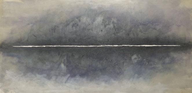 abstraktes Bild · Weiss · Grau · Schwarz · Horizont · Leinwand · Patrick Öxler · Wiede Fabrik · Atelier