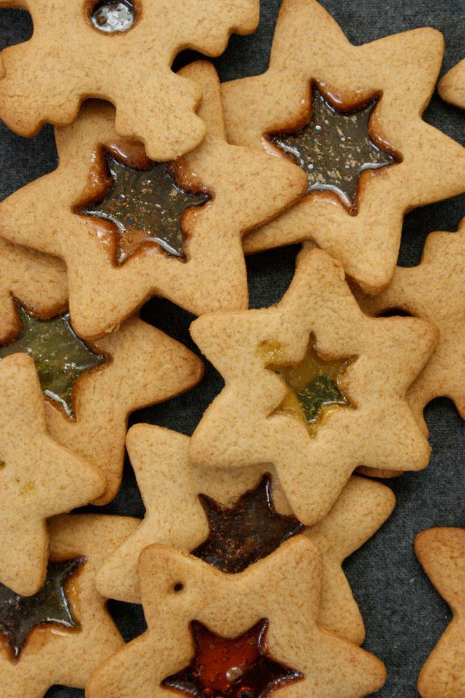 Buntglasfenster-Plätzchen, Weihnachtsplätzchen als Christbaumschmuck