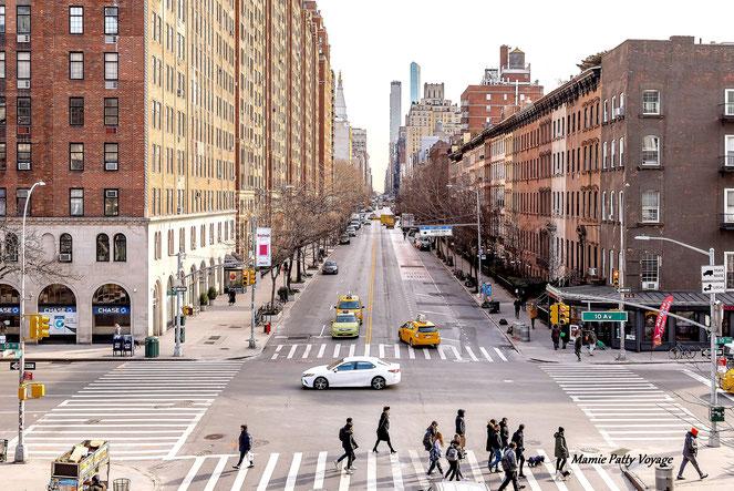 10ème Avenue vue de High Line Park, New York