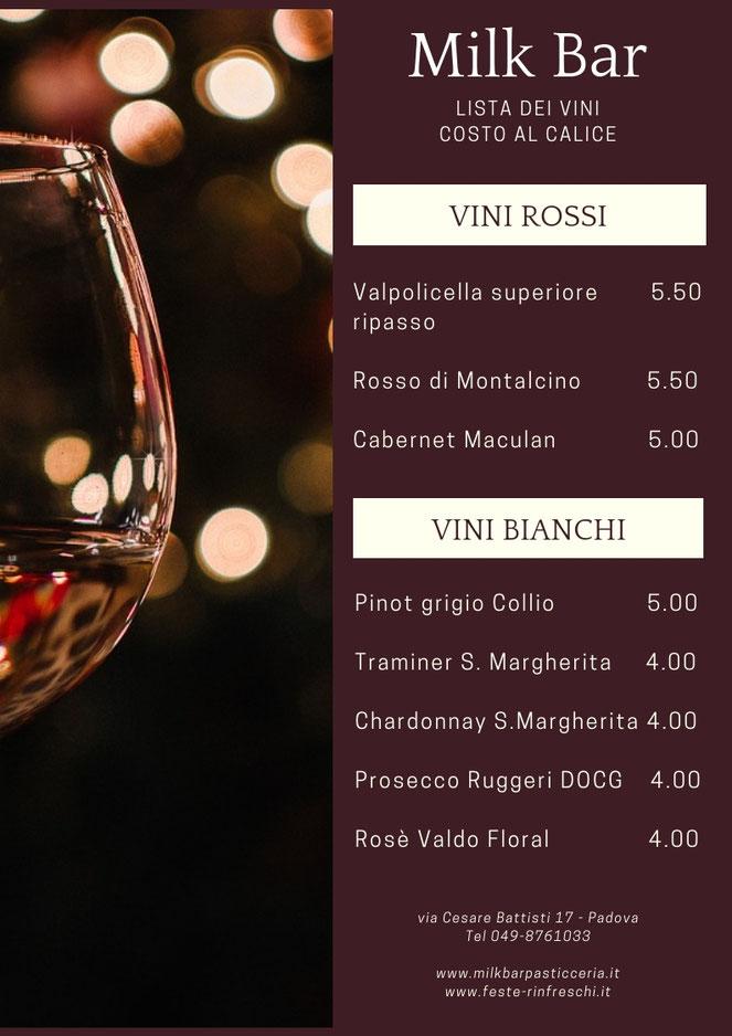 carta dei vini bianchi e rossi