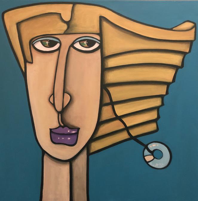 WOMAN WITH EARRING Acryl 60 x 60