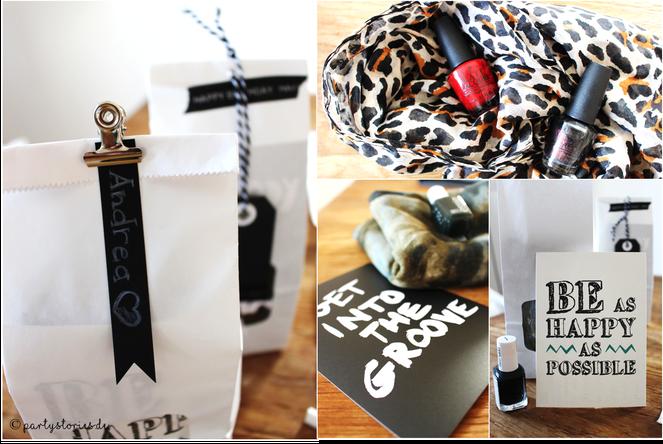 Bild: Geschenkidee, Geschenke schön verpacken, Schal und Nagellack, gefunden auf Partystories.de