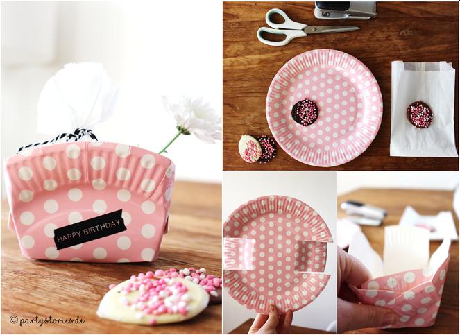 Bild: Geschenke verpacken mit Pappteller, DIY, Upcycling, Partystories