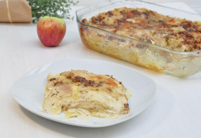 Kartoffelgratin mit Apfel und Walnüssen herbstlich lecker außergewöhnlich aber einfach zu machen und gut vorzubereiten