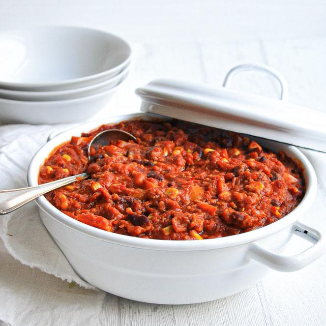 Chili sin Carne Thermomix vegan, vegetarisch mit Grünkern