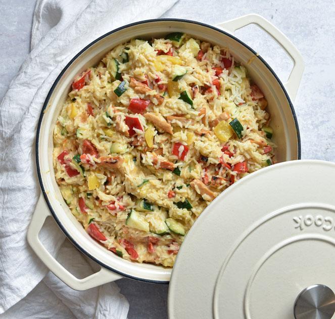 """Reistopf """"Honig-Senf-Gemüse"""", vegetarisch, vegan möglich, Thermomix"""