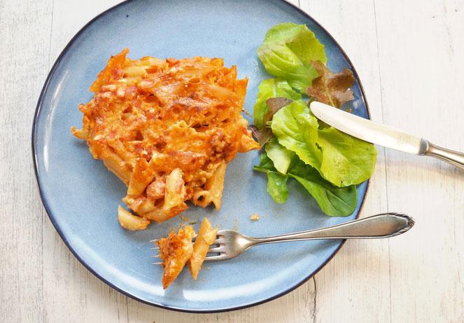 Tomaten Nudelauflauf ohne Vorkochen vegan möglich aus dem Thermomix Klassiker