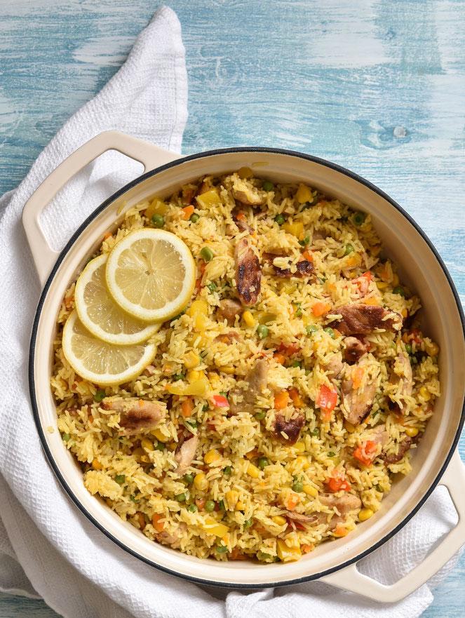 Paella mit Gemüse und Huhn bzw. vegetarisch mit Huhn-Ersatz oder vegan, Thermomix